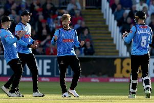 Will Beer celebrates a wicket in the Vitality Blast last season. (Photo by Nigel Roddis/Getty Images)