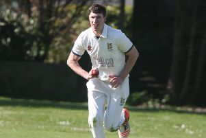 Hastings Priory pace bowler Adam Pye charges in during last weekend's victory away to Goring By Sea. Picture by Derek Martin Photography