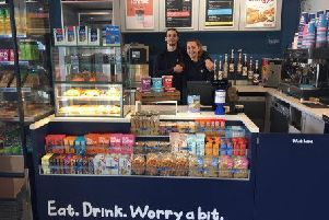 Baristas Miles and Amie are ready to serve at Haywards Heath railway station