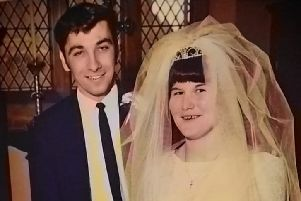 Vic and Christine Ellard on their wedding day at All Saints' Parish church on May 17 1969.