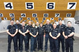 Some of the newly trained officers who can now use Tasers in the course of their work. Picture Sergeant Steve Briggs via Twitter.