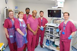 From left, ward sister Jo Sinclair, staff nurse Jayne Haycock, registrar Dr Rahul Patel, consultant physician Dr Raja Reddy, Olympus sales manager Chris Hughes and consultant physician George Tsaknis with the new bronchoscope at Kettering General Hospital.