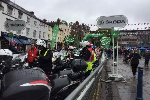 Some of the motorcyclists before setting off ahead of the cyclists