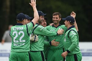Tim Murtagh of Ireland, centre, is congratulated by team-mates after taking a wicket against Zimbabwe at Stormont in Belfast.