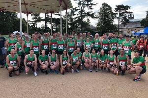 Spa Striders line up before the Leamington Spa Half Marathon.