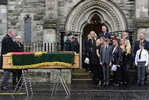 The funeral of Co Down murder victim and ex-UDR man William 'Pat' McCormick took place in Strean Presbyterian Church, Newtownards. Pic by Arthur Allison.