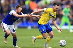 Jack Harrison of Leeds United and Alan Judge of Ipswich Town compete for the ball (Photo by Stephen Pond/Getty Images)