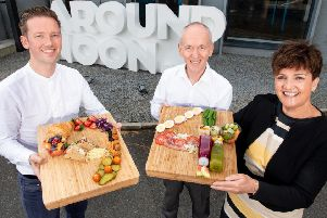 Pictured (L-R) are Gareth Chambers, CEO, Around Noon with Howard Farquhar, Chairman, Around Noon and Grainne McVeigh, Director of Scaling, Invest NI.