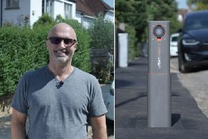 Keith Johnston's company has designed an on-street electric car charger that disappears when not in use