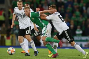 George Saville on the attack in Belfast last night against Germany during the Euro 2020 qualifying defeat. Pic by PressEye Ltd.