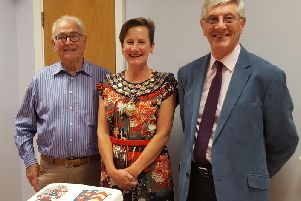 Joerg Muller, chairman of Eppstein Twinning Group, Alison Firth, mayor of Kenilworth, and Tony Jones, the chairman of Kenilworth Twinning Association.