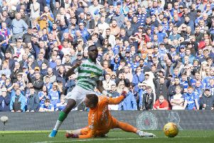 Celtic's Odsonne Edouard scoring during the recent Old Firm derby at Ibrox.