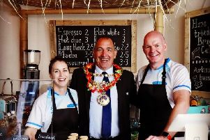Michelle Matthews, Warwick Mayor Neale Murphy and Jack Linstead. Photo submitted.