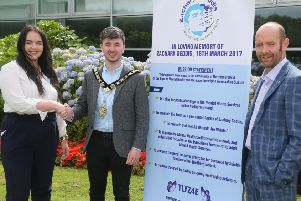 The Mayor of Causeway Coast and Glens Borough Council Councillor Sean Bateson pictured with Yasmin and Terry Geddis from The Zachary Geddis Break The Silence Trust. A fundraising Coffee Morning will take place in Cloonavin on Wednesday, October 16 rom 10.30am - 12 noon, where The Trust will launch its Keep The Light On campaign