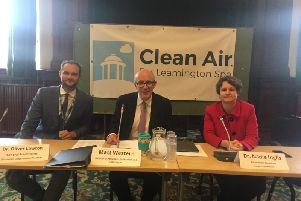 Matt Western MP (centre) at the first Warwick and Leamington Clean Air Summit with guest speakers Dr Oliver Lawton (left) and Dr Nadia Inglis.