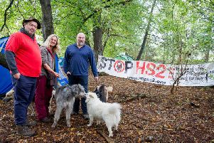 Joe Rukin, campaign manger for the Stop HS2 group, and some other volunteers who camped overnight.
