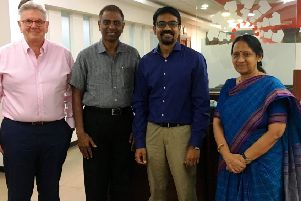 CEO James Johnston with L Ashok CEO Futurenet Technologies and board member, Madras Chamber of Commerce and Industry MCCI, Global Management Academy India Director Sri Nagesh and MCCI Secretary General K Saraswathi.during a recent visit to India.