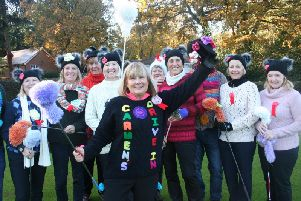 Ladies Captain Carmen White with her knitting squad of club helpers.