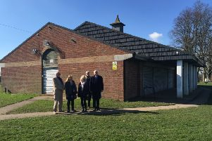 Pictured at Pages Park Pavilion from left to right are Cllr Ray Berry, Cllr Amanda Dodwell, Cllr Carol Chambers, Cllr David Bowater and Cllr Steve Cotter.