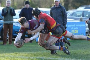 Leamington are unable to prevent a first-half Silhillians try. Picture: Tim Nunan