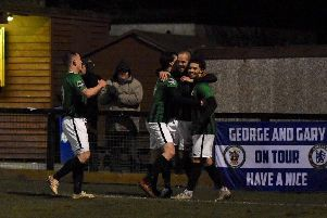 Dan Beck celebrates his winning goal against Eastbourne Borough. Picture by Chris Neal
