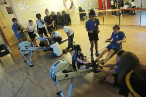 Rowers from Eastlands and Dunchurch Junior School in action