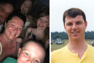 Katie and her family (left); Tim (right)
