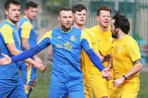 Chris Darwin netted as Rustington exited the Sussex Intermediate Cup at the hands of Upper Beeding. Picture: Derek Martin
