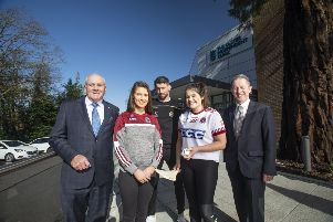 Pictured at the Ulster Independent Clinic are Oliver Galligan, President of the Ulster GAA, Eilis McGrath of SlaughtNeil GAC, Tyrone GAA player Matthew Donnelly, Eimhear McGuigan of SlaughtNeil GAC and Chairman of the Ulster Independent Clinic, Dr Kieran Fitzpatrick