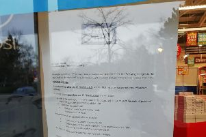 A notice in the window