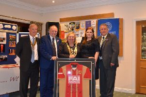 Rotary club president Nick Inwards, John Cove of MK Dons, national president Debbie Hodge, Rachael Shirt FAI, and Richard Johnson.