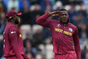 Sheldon Cottrell of West Indies celebrates the wicket of Aiden Markram at the Ageas Bowl before the rain stopped play. Picture: Alex Davidson/Getty Images