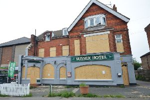 The Sussex Hotel, in London Road, has been boarded up