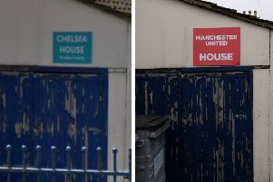 Left: The Chelsea House sign. Right: The new sign put on top of it by pranksters.