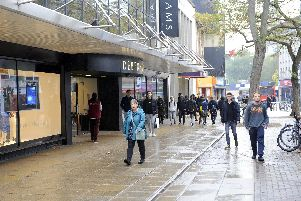 Commercial Road, Portsmouth, on a very wet and rather quiet Wednesday in mid-October 2018  'Picture by:  Malcolm Wells (181017-6187)