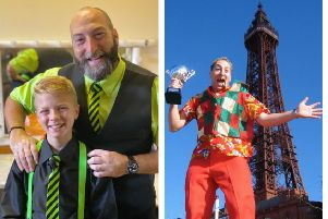 Best friends: Jacob and Dave. Right: Dave won the same competition in 2004 at the Blackpool Magic Convention.