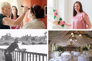 Clockwise from top left: Bridal Make Up by Juliet (left); La Belle Cake Company; Beautiful Bows; Pho2U!