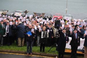 Veterans who protested in support of Bennet House, Portrush on Saturday December 28.