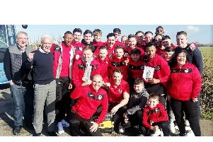 Leighton Town on their away day to Bradford on Avon in Wiltshire, where they beat Bradford Town 3-1 to reach the quarter-finals of the FA Vase