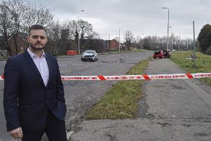 Robbie Butler MLA at the scene on the crash on Knockmore Road on Tuesday afternoon.