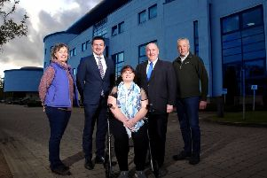 Pictured (l-r) are Sally Burch, Councillor Scott Carson, Chairman of the council's Corporate Services Committee, Shauna McCausland, Alderman William Leathem and Tim Burch.