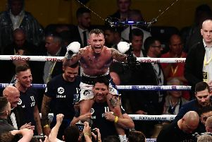 Carl Frampton celebrates after stopping  Luke Jackson  during Saturday's fight at Windsor Park.''Picture Colm Lenaghan/ Pacemaker