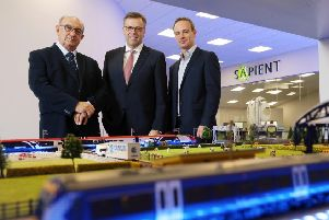 Pictured (L-R) are John Cunningham, CEO, Camlin, Alastair Hamilton, CEO, Invest NI and Peter Cunningham, Managing Director, Camlin. Photo by Kelvin Boyes  / Press Eye