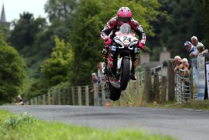 Davey Todd (Burrows Suzuki) during the Superbike practice session at the Armoy road races.