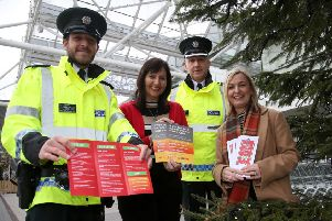 Promoting how to stay safe this Christmas are: Constable Nathan Cole, Mrs Yvonne Craig Vice-Chairperson Lisburn & Castlereagh PCSP, Superintendent David Beck, District Commander and Shelley Grimes, PSNI Crime Prevention Officer.