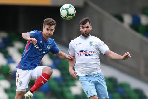 Jonathan McMurray (right) in action against Linfield