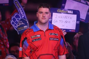 Daryl Gurney during day six of the William Hill World Darts Championships at Alexandra Palace, London. PRESS ASSOCIATION Photo. Picture date: Tuesday December 18, 2018. Photo credit should read: Adam Davy/PA Wire
