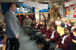 Steve Connor, business development manager at Inspire Technology speaks to pupils.