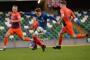 Joel Cooper on the attack for Linfield against former club Glenavon at Windsor Park. Pic by Pacemaker.
