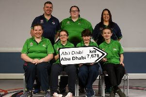 Lisburn's Sarah-Louise Rea (front row, extreme right) with fellow Antrim members of the Ireland Special Olympics team at the Special Olympics Ireland official launch Team Ireland for the 2019 Word Summer Games at the Carlton Hotel Tyrellstown in Dublin. (Photo by Harry Murphy/Sportsfile)